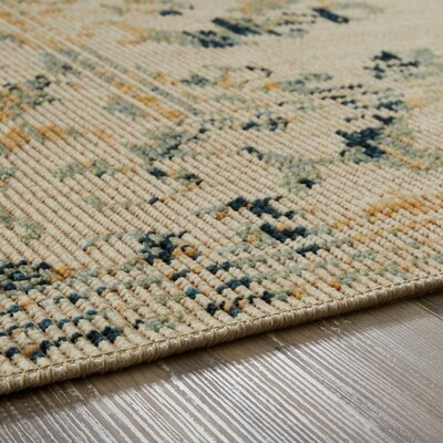 Kavya Aquamarine/Cream Area Rug Rug Size: Rectangle 5 x 8