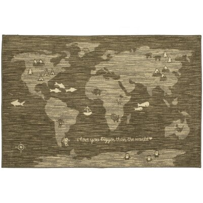 Johnston Bigger Love Gray/Brown Area Rug Rug Size: Rectangle 34 x 5