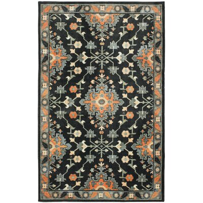 Hargis Black/Orange Area Rug Rug Size: Rectangle 5 x 8