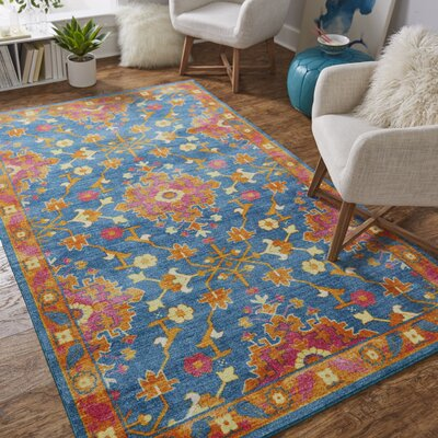 Bislim Teal/Orange Area Rug Rug Size: Rectangle 5 x 8