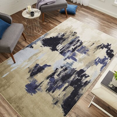 Thome Beige/Blue Area Rug Rug Size: Rectangle 8 x 10