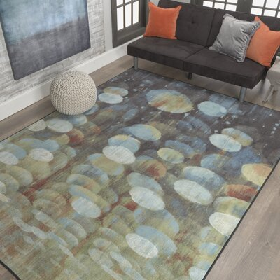 Thomason Rain Drop Brown/Green Area Rug Rug Size: Rectangle 76 x 10