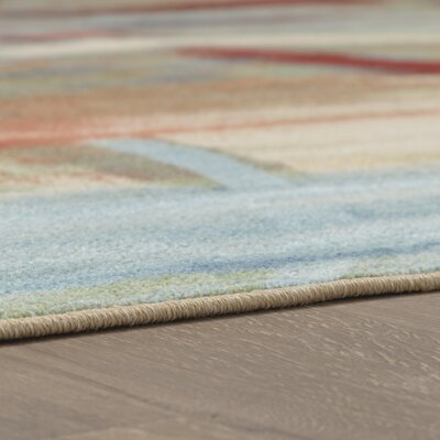 Thomason Sky Blue/Coral Area Rug Rug Size: Rectangle 7'6