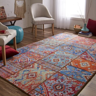 Dario Blue/Orange Area Rug Rug Size: Rectangle 8 x 10