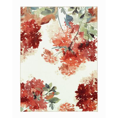Thomason Watercolor Red/Ivory Area Rug Rug Size: Rectangle 8 x 10
