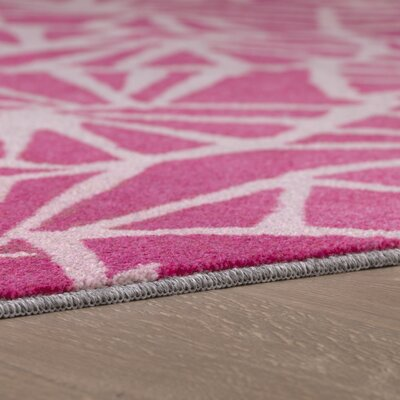 Pauling Pink/Cream Area Rug Rug Size: Rectangle 8 x 10