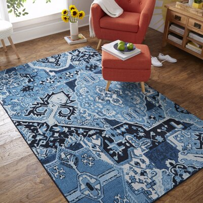 Bislim Patchwork Blue/Black Area Rug Rug Size: Rectangle 5 x 8