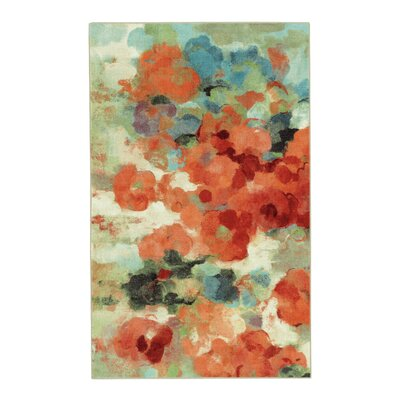 Thomason Colorful Garden Coral/Green Area Rug Rug Size: Rectangle 5 x 8
