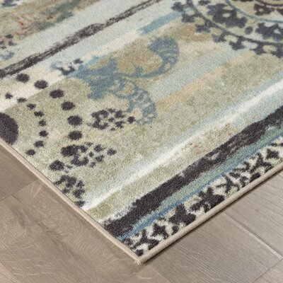 Tatyana Mandala Stripes Blue/Tan Area Rug Rug Size: Rectangle 76 x 10
