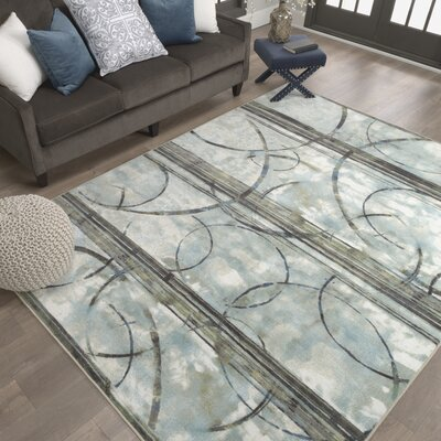 Thomason Blue/Charcoal Gray Area Rug Rug Size: Rectangle 76 x 10
