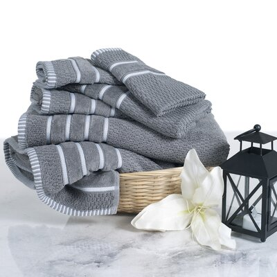 Delfino Rice Weave 6 Piece Towel Set Color: Silver