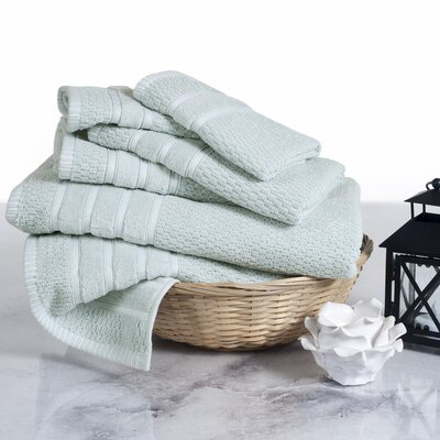 Delfino Rice Weave 6 Piece Towel Set Color: Seafoam