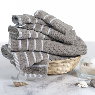Tyshawn Weave 6 Piece Towel Set Color: Taupe
