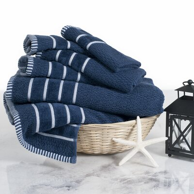 Tyshawn Weave 6 Piece Towel Set Color: Navy