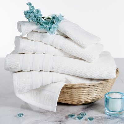 Delfino Rice Weave 6 Piece Towel Set Color: White