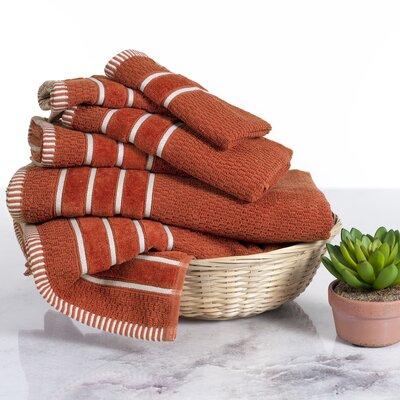 Delfino Rice Weave 6 Piece Towel Set Color: Brick Red