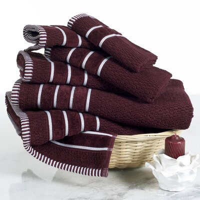 Delfino Rice Weave 6 Piece Towel Set Color: Burgundy