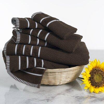 Delfino Rice Weave 6 Piece Towel Set Color: Chocolate