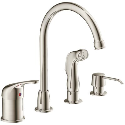 Aviera Single Handle Kitchen Faucet with Lever Handle Finish: Brushed Nickel