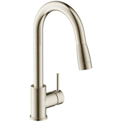 Vanteno Single Handle Pull Down Kitchen Faucet with Lever Handle Finish: Brushed Nickel
