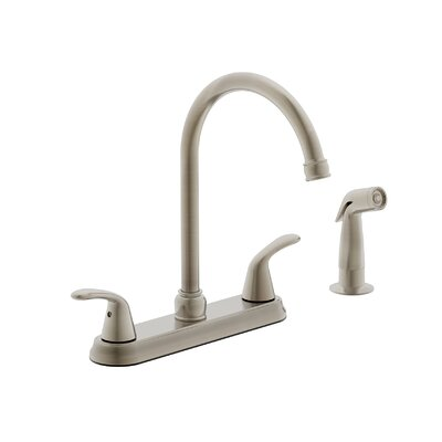 Tavianno Double Handle Kitchen Faucet with Side Spray Finish: Brushed Nickel