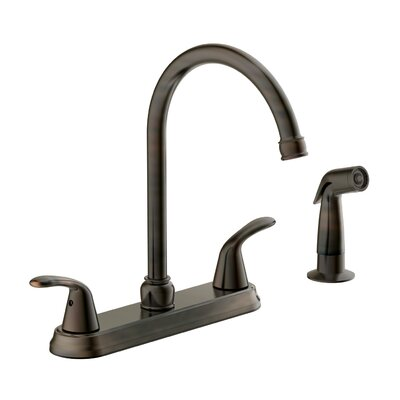 Tavianno Double Handle Kitchen Faucet with Lever Handle Finish: Brushed Bronze