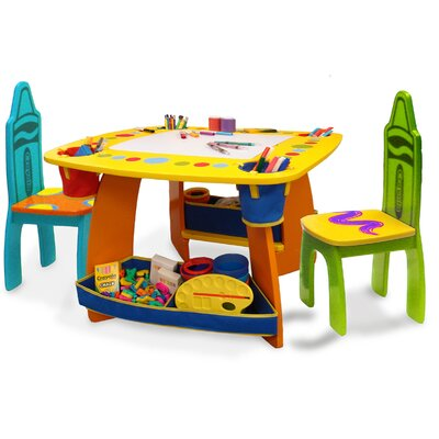 Crayola Wooden Kids 3 Piece Table and Chair Set 9001
