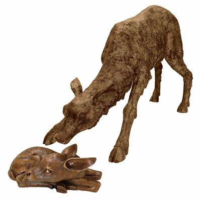 2 Piece Mother Deer Doe Nudging Baby Fawn Garden Statue Set