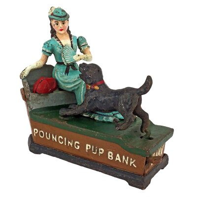 Pouncing Pup Die-Cast Iron Mechanical Coin Bank