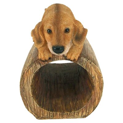 Golden Retriever Puppy Dog Gutter Guardian Downspout Statue QM13067