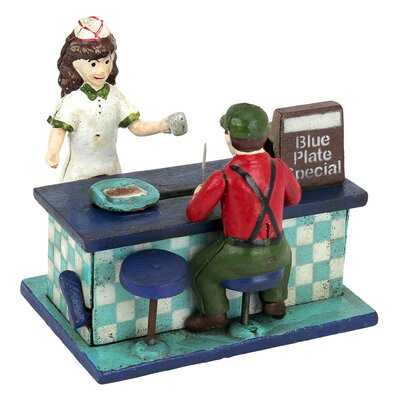 Blue Plate Special Diner Die-Cast Iron Mechanical Coin Bank