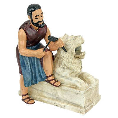 Sculptor and Lion Statue Die-Cast Iron Mechanical Coin Bank