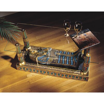 Egyptian Luxor Sculptural Glass-Topped Coffee Table