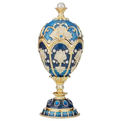 The Petroika Larissa Faberge-Style Enameled Egg Color: Blue FH10762