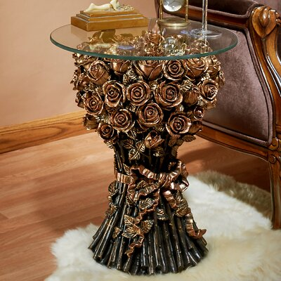 Roses Glass Topped End Table EU9358