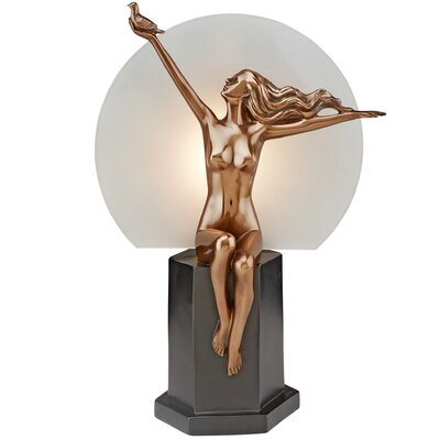 The Carrier Pigeon Art Deco Nude Woman Illuminated Figurine PD60625