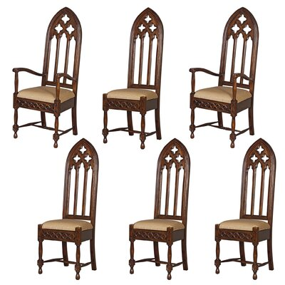 6 Piece Viollet-Le-Duc Gothic Armchair Chair Set