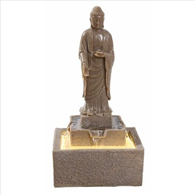 Resin Earth Witness Buddha Illuminated Garden Fountain with LED Light QN164006
