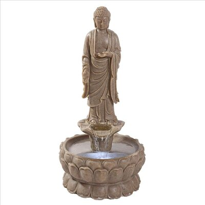 Resin Earth Witness Buddha Illuminated Garden Fountain with LED Light QN164001