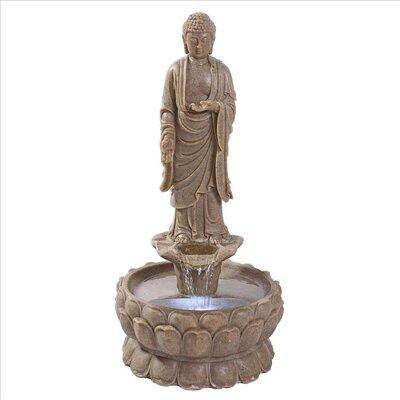 Resin Earth Witness Buddha Illuminated Garden Fountain QN164001