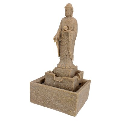 Resin Earth Witness Buddha Illuminated Garden Fountain with LED Light CST53375 45415150