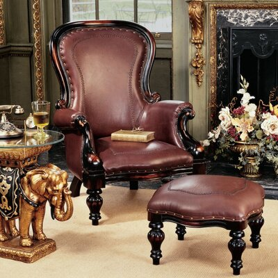 Leather Wingback Chair On Toscano Victorian Rococo Faux Leather Wing Chair  And Ottoman Wayfair