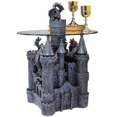Lord Langtons Castle Glass Topped Sculptural End Table