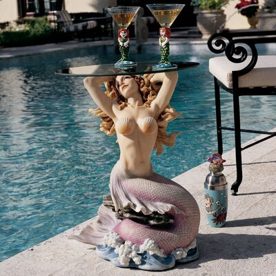 Mermaid of Magellans Cove Glass Topped Statue Table