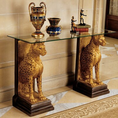 Cheap Design Toscano Royal Egyptian Cheetahs Sculptural Glass Topped Console (TXG1285)