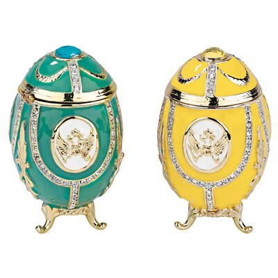 Russian Imperial Eagle Faberge Style Enameled Eggs Sculpture FH989339