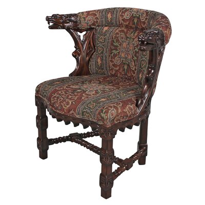 Kingsman Manor Dragon Fabric Barrel Chair