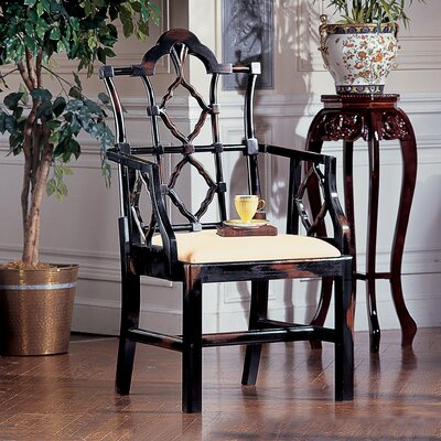 Chinese Chippendale Genuine Leather Upholstered Dining Chair