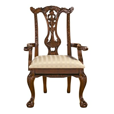 Cupids Bow Chippendale Fabric Armchair