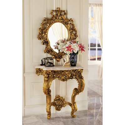 Madame Antoinette Wall Console Table and Salon Mirror Set